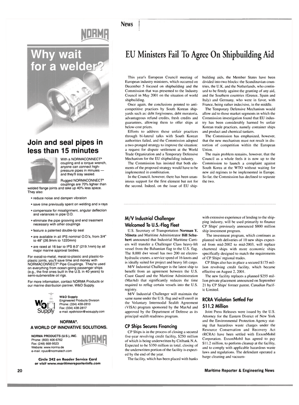 Maritime Reporter Magazine, page 23,  Jan 2002 waste laws