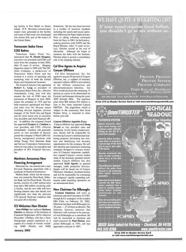 Maritime Reporter Magazine, page 24,  Jan 2002