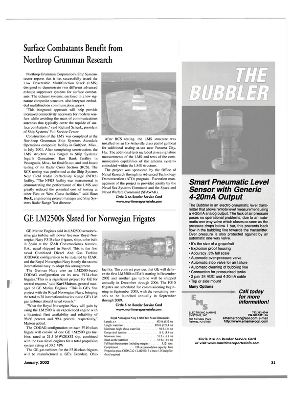 Maritime Reporter Magazine, page 34,  Jan 2002