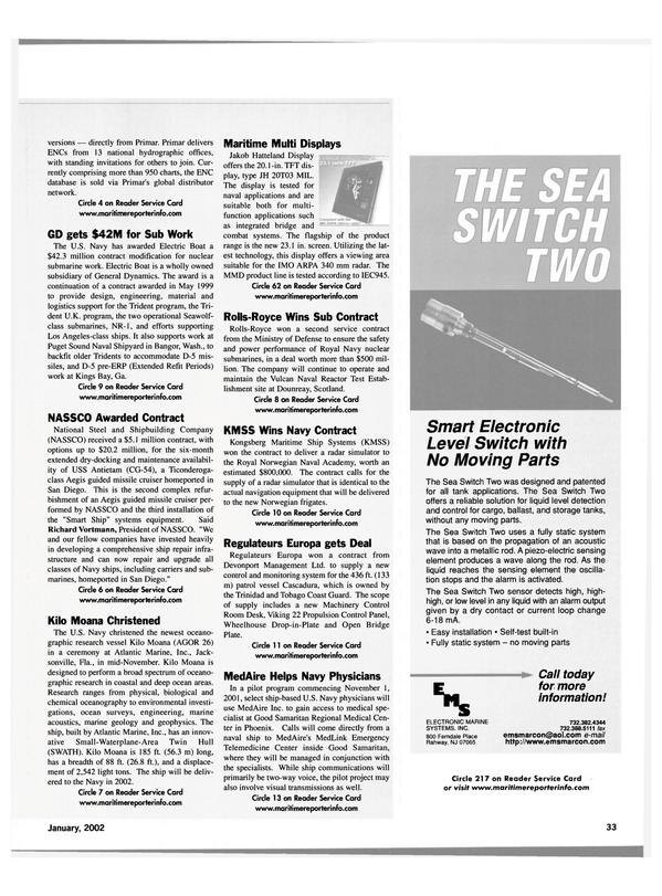 Maritime Reporter Magazine, page 36,  Jan 2002