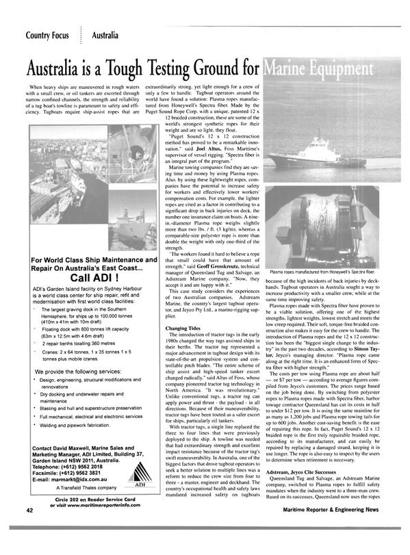 Maritime Reporter Magazine, page 45,  Jan 2002