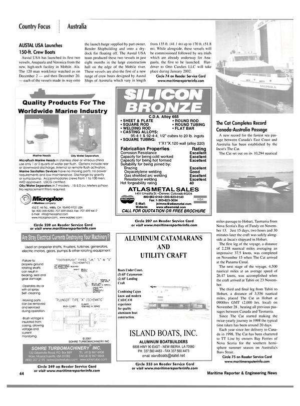 Maritime Reporter Magazine, page 47,  Jan 2002 Colorado