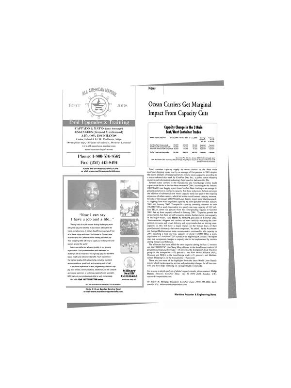 Maritime Reporter Magazine, page 16,  Feb 2002 Caribbean