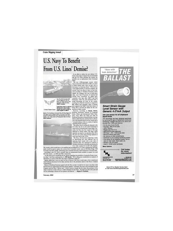 Maritime Reporter Magazine, page 27,  Feb 2002