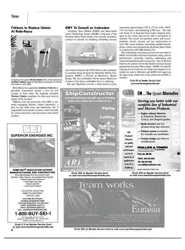 Maritime Reporter Magazine, page 8,  Mar 2002 Compliant