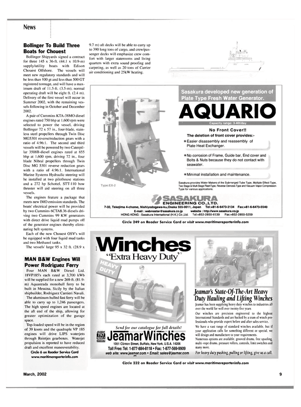 Maritime Reporter Magazine, page 9,  Mar 2002 belt systems