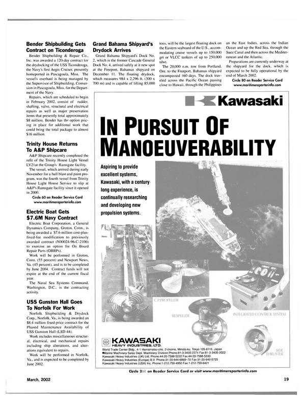 Maritime Reporter Magazine, page 19,  Mar 2002 Hawaii