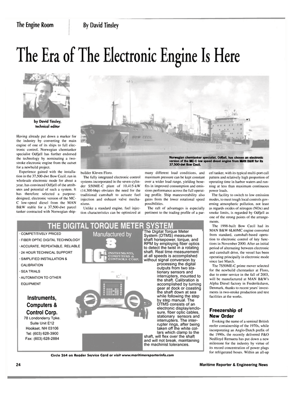 Maritime Reporter Magazine, page 24,  Mar 2002 electronic control systems