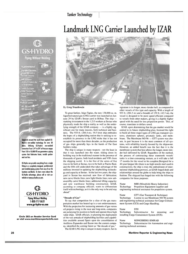 Maritime Reporter Magazine, page 28,  Mar 2002