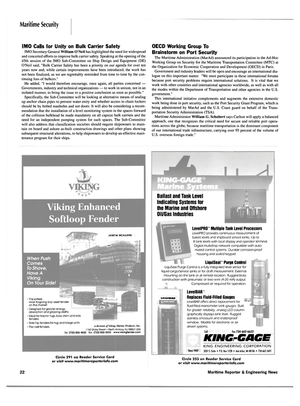 Maritime Reporter Magazine, page 20,  Apr 2002 Department of Transportation