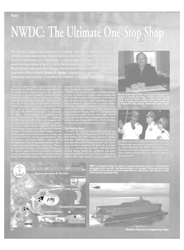 Maritime Reporter Magazine, page 22,  Apr 2002 Special Operations Command