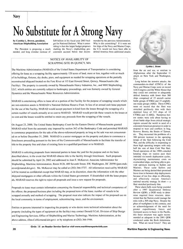 Maritime Reporter Magazine, page 26,  Apr 2002 Jean E. McKeever