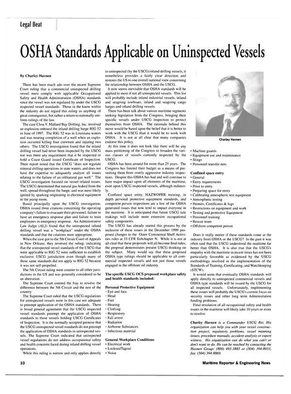 Maritime Reporter Magazine, page 10,  May 2002