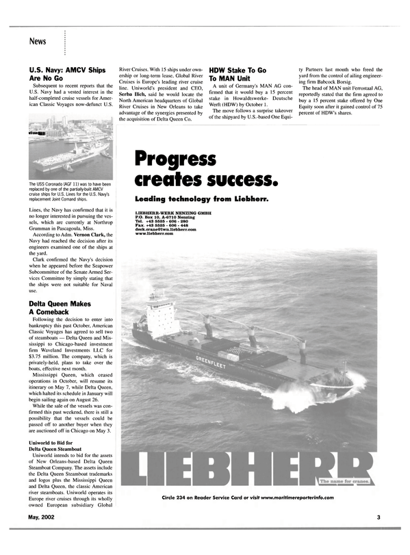 Maritime Reporter Magazine, page 3,  May 2002
