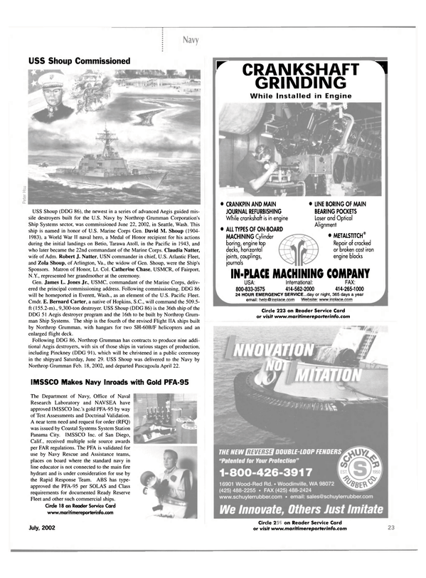 Maritime Reporter Magazine, page 23,  Jul 2002 New York