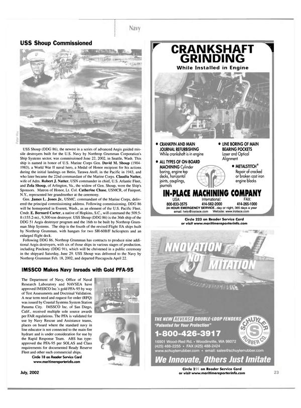 Maritime Reporter Magazine, page 23,  Jul 2002