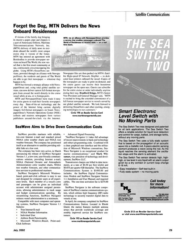 Maritime Reporter Magazine, page 29,  Jul 2002 satellite communications