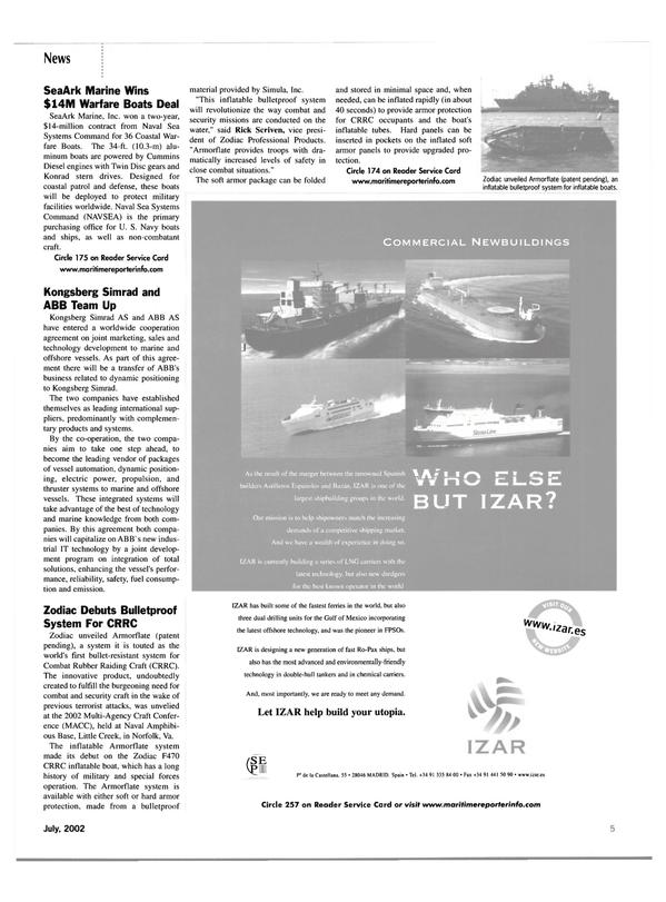 Maritime Reporter Magazine, page 5,  Jul 2002