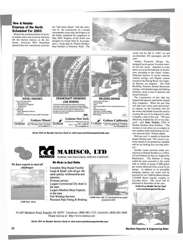 Maritime Reporter Magazine, page 10,  Aug 2002