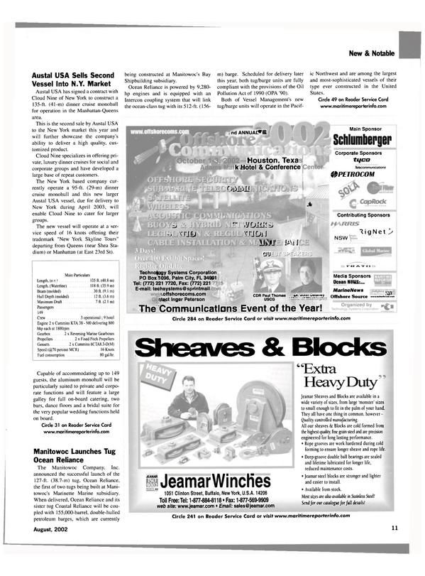 Maritime Reporter Magazine, page 11,  Aug 2002 New York