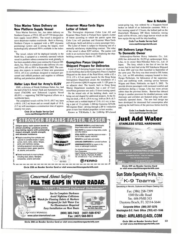 Maritime Reporter Magazine, page 13,  Aug 2002