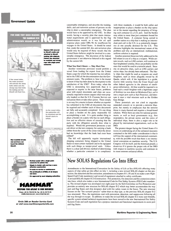Maritime Reporter Magazine, page 16,  Aug 2002