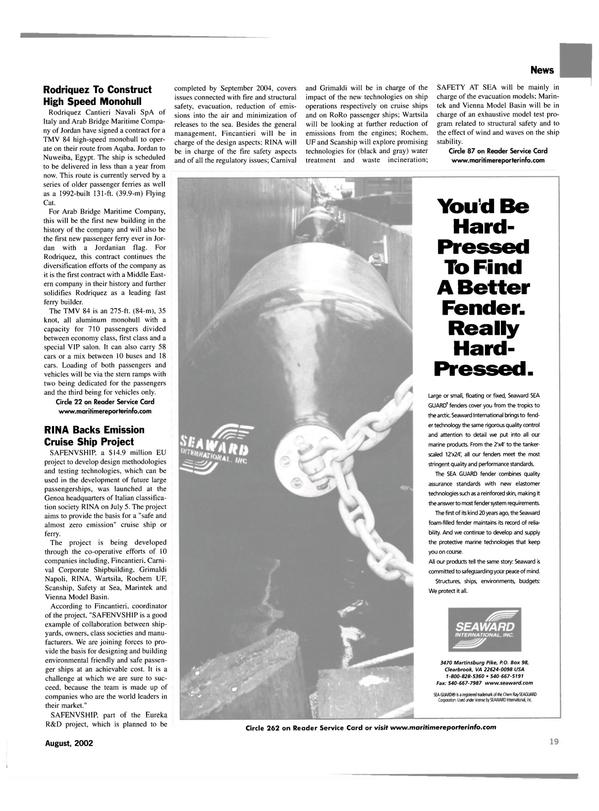 Maritime Reporter Magazine, page 19,  Aug 2002 protective marine technologies