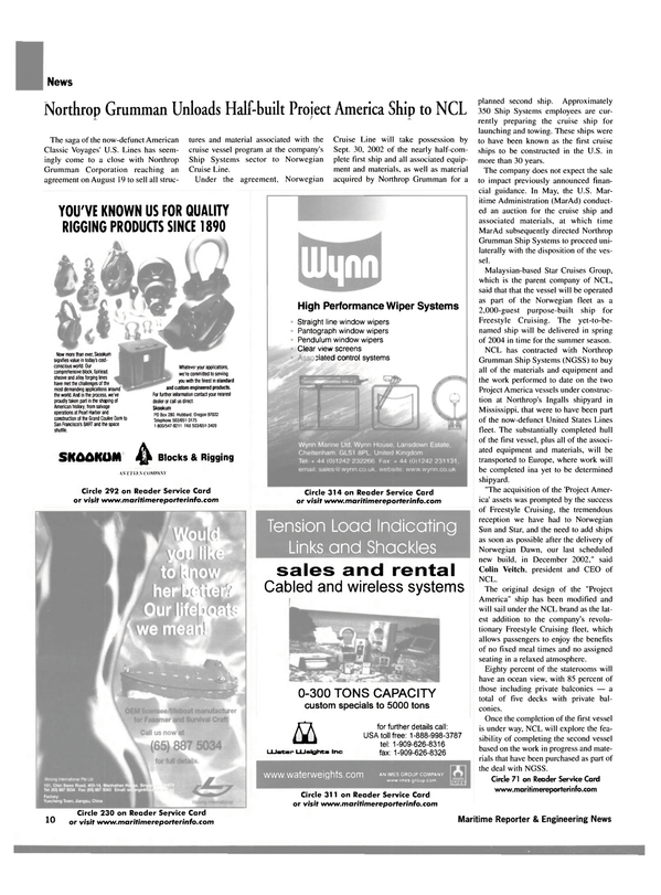 Maritime Reporter Magazine, page 10,  Sep 2002