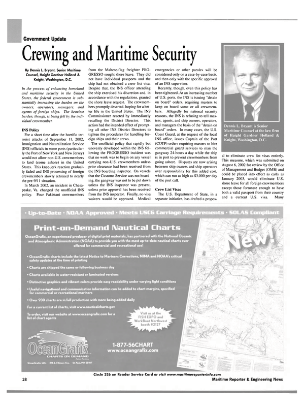 Maritime Reporter Magazine, page 16,  Sep 2002