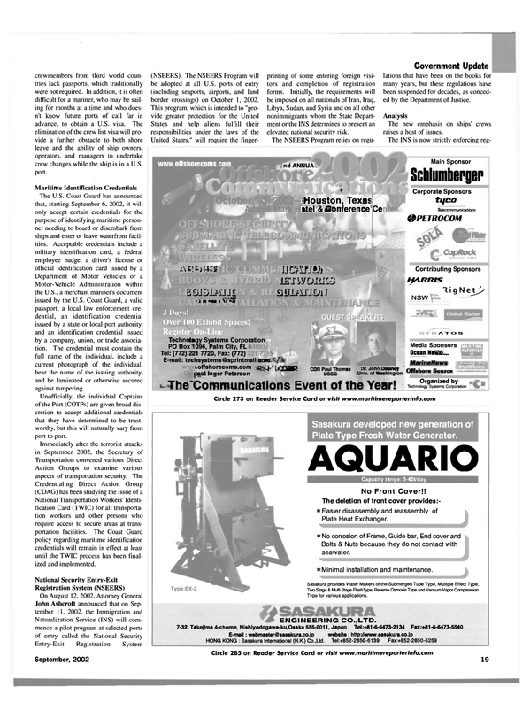 Maritime Reporter Magazine, page 17,  Sep 2002