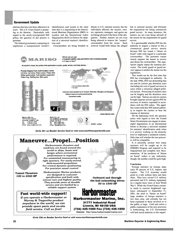 Maritime Reporter Magazine, page 18,  Sep 2002