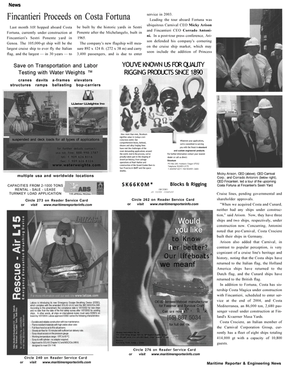 Maritime Reporter Magazine, page 8,  Oct 2002