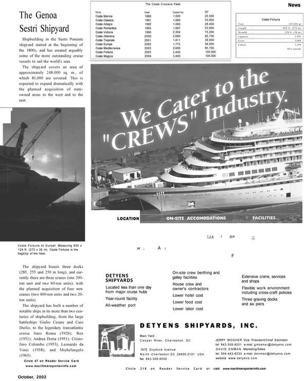 Maritime Reporter Magazine, page 9,  Oct 2002