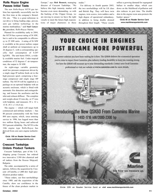 Maritime Reporter Magazine, page 11,  Oct 2002 Rolls-Royce MT30