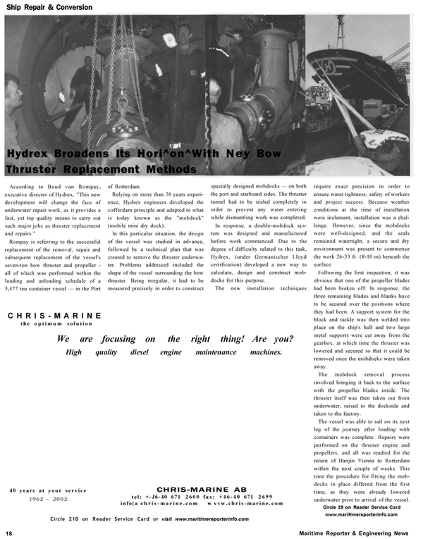 Maritime Reporter Magazine, page 18,  Oct 2002