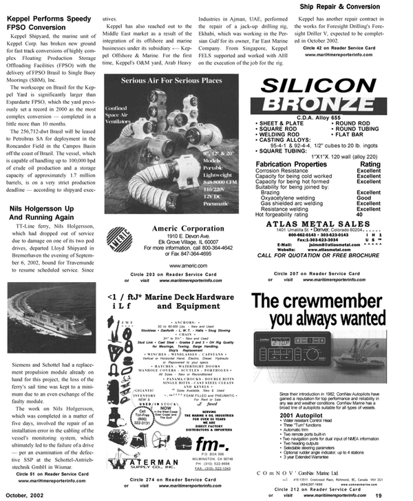 Maritime Reporter Magazine, page 19,  Oct 2002