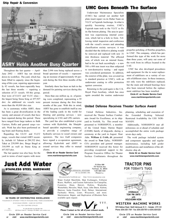 Maritime Reporter Magazine, page 20,  Oct 2002 Wisconsin