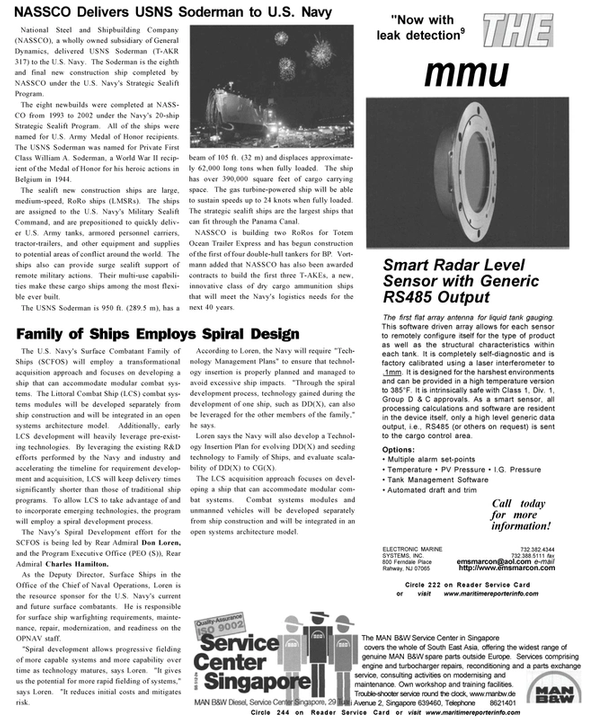 Maritime Reporter Magazine, page 31,  Oct 2002