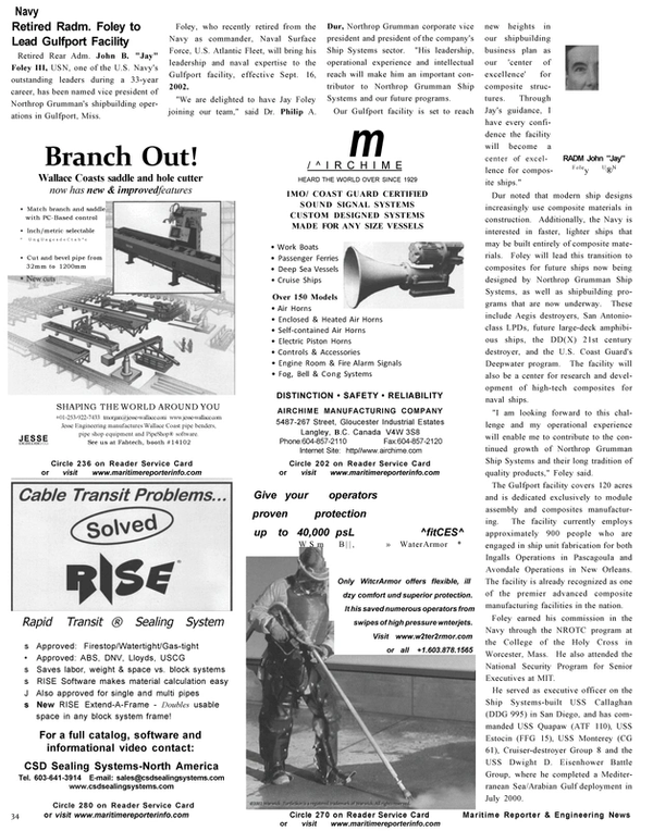 Maritime Reporter Magazine, page 34,  Oct 2002