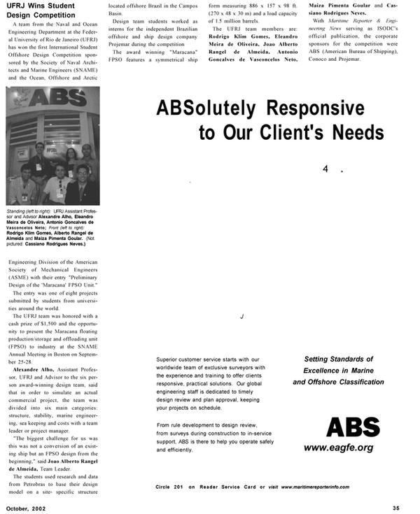 Maritime Reporter Magazine, page 35,  Oct 2002