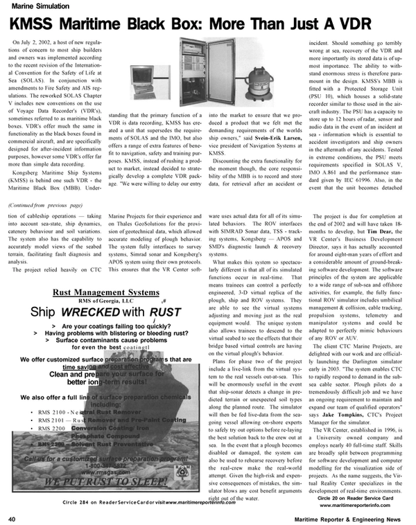 Maritime Reporter Magazine, page 40,  Oct 2002