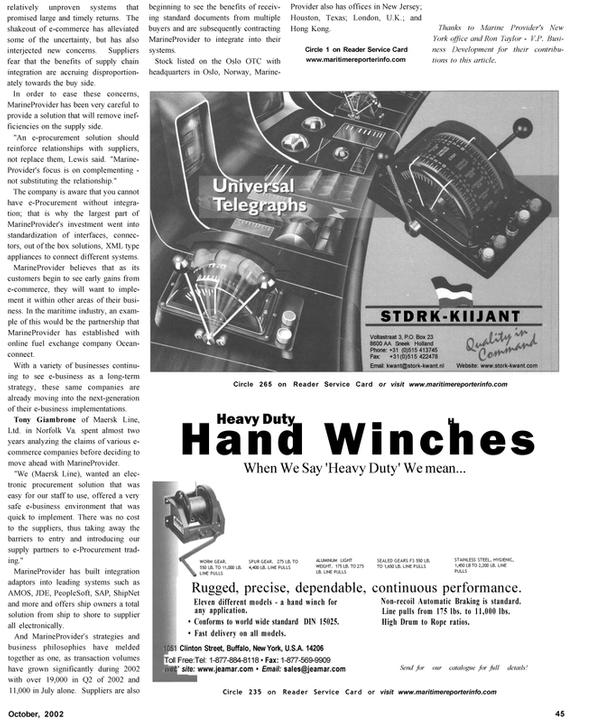 Maritime Reporter Magazine, page 46,  Oct 2002 New Jersey