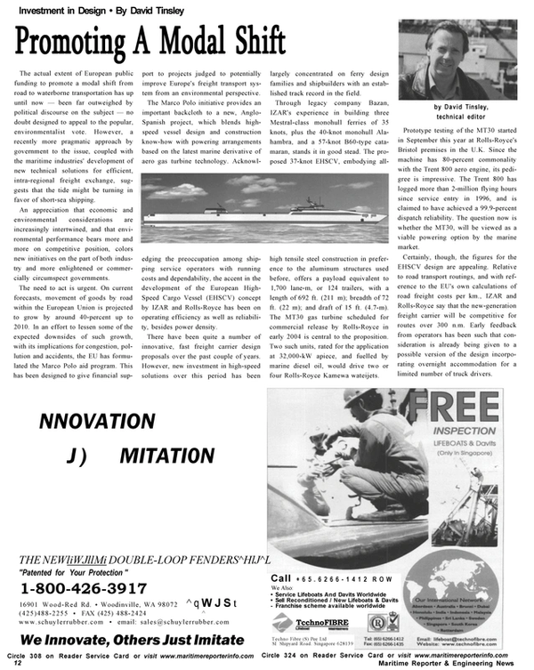 Maritime Reporter Magazine, page 12,  Nov 2002