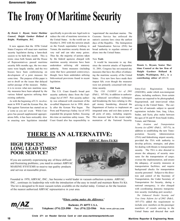 Maritime Reporter Magazine, page 18,  Nov 2002 Department of Justice