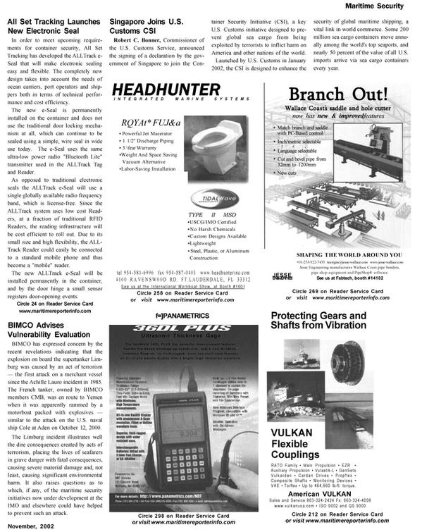 Maritime Reporter Magazine, page 25,  Nov 2002