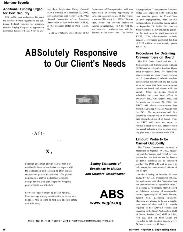 Maritime Reporter Magazine, page 26,  Nov 2002
