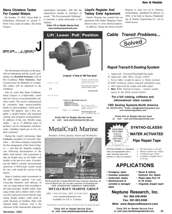 Maritime Reporter Magazine, page 29,  Nov 2002 pipes
