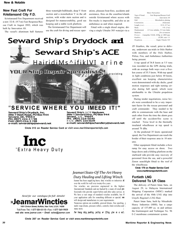 Maritime Reporter Magazine, page 30,  Nov 2002 Kristiansand Fire Department