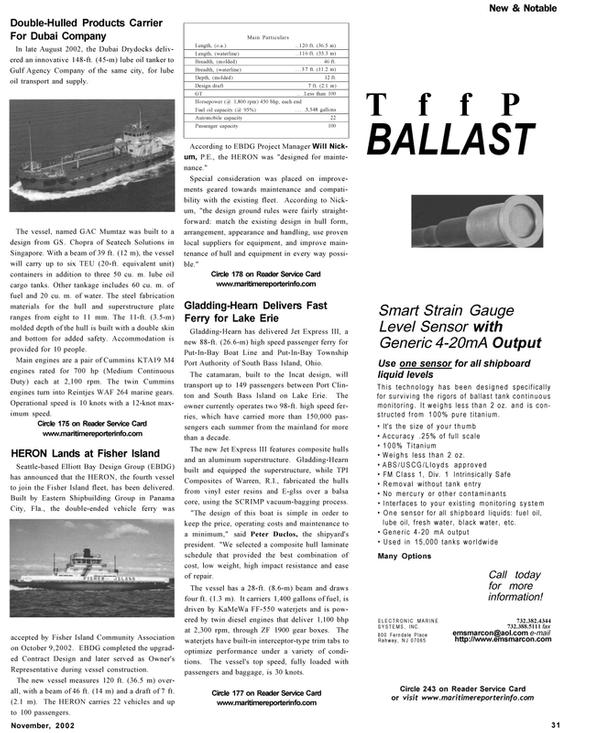 Maritime Reporter Magazine, page 31,  Nov 2002