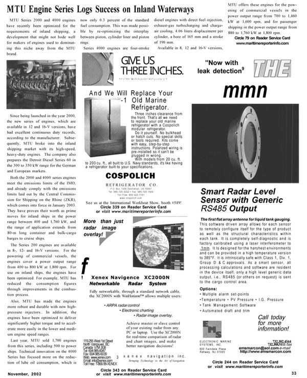 Maritime Reporter Magazine, page 33,  Nov 2002